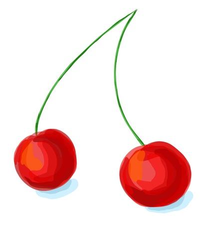 expressive: Colorful expressive cherry illustration