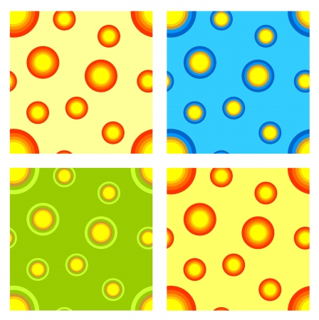seamless pattern set  Colorful bright circles  Different variants Vector