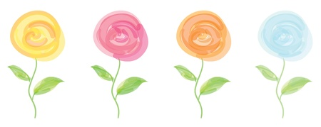 stylized flowers set  Performed with transparent strokes of light color Stock Vector - 14748187