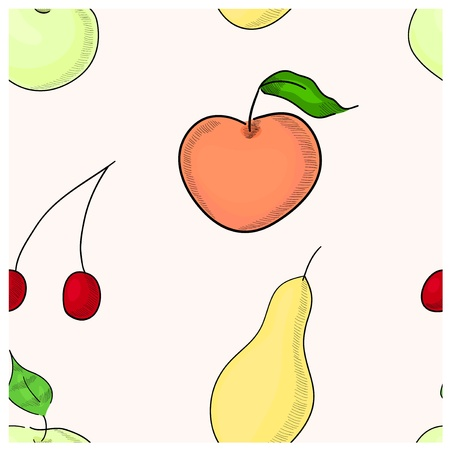 Fruit seamless pattern Contains green apple, yellow pear, red apple and vinous cherry Stock Vector - 14748160