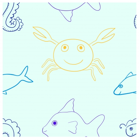 horsefish: marine life seamless pattern in light colors  Contains fish, crab and horsefish