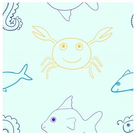 horsefish: patr�n de vida marina sin fisuras en tonos claros Contiene pescado, cangrejo y horsefish