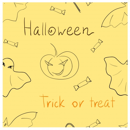 Eps 10 vector Halloween  Trick or treat  seamless pattern Vector