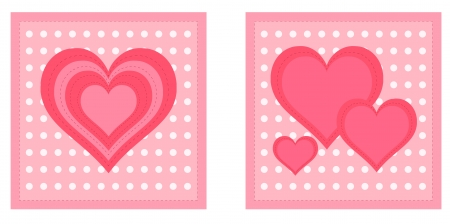 Beautiful valentine cards with decorative hearts on dotted light background  Eps 10 vector