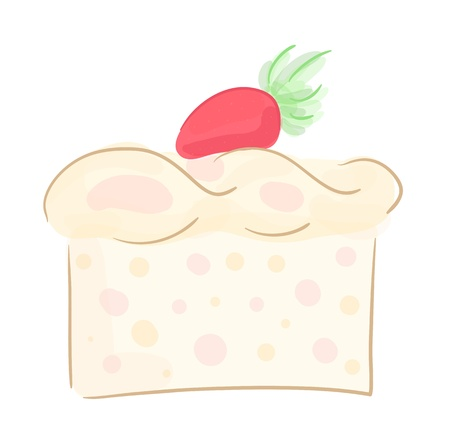 Piece of delicious strawberry cake.  Stock Vector - 15202037