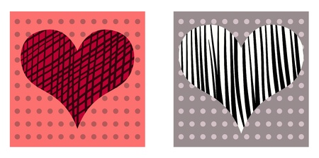 Beautiful valentine cards with decorative hearts on dotted background.