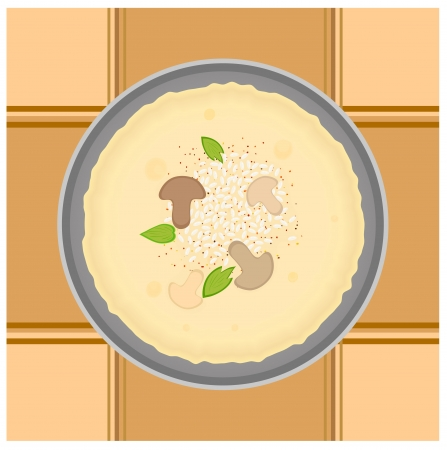 browned: Tasty pancake with rice and mushroom sauce. Kitchen cookery background. Illustration