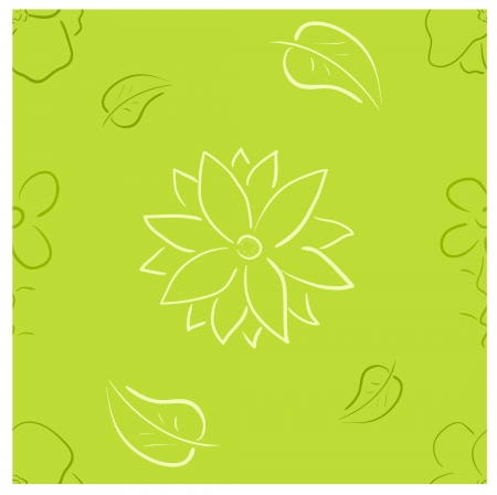 seamless pattern. Laconic floral design in bright contrast green colors Vector