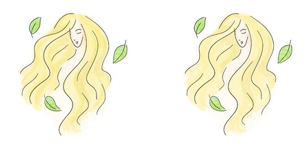Beautiful blonde summer girl with green leaves spinning around her.   Stock Vector - 15202054