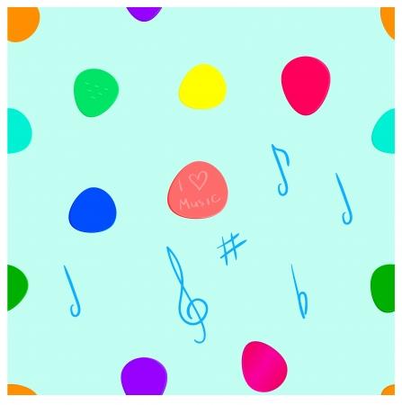 motley: Mediatori Chitarra e simboli musicali seamless pattern. Diversi mediatori motley colorati su sfondo azzurro. Vettoriali