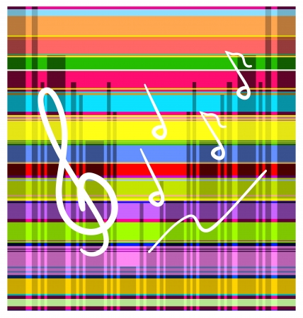 Bright colorful striped background with white handwritten treble clef and notes. Stock Vector - 15202045