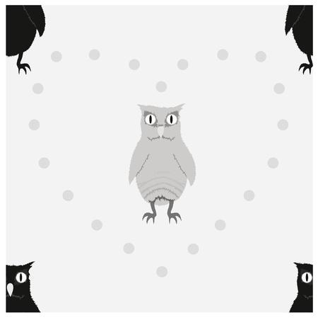 owlet: Oscuro y gris claro patr�n owlet sin fisuras. Vectores