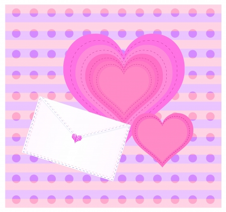 Decorative background with envelope and heart. Dotted and striped backdrop.