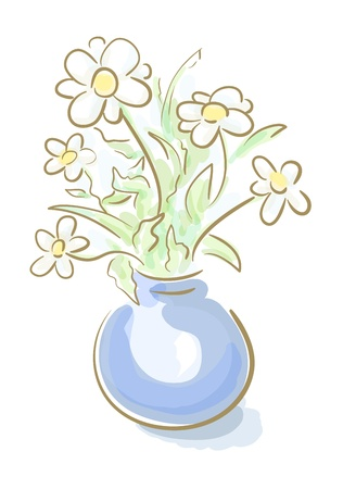 artistic colorful illustration of chamomile in vase