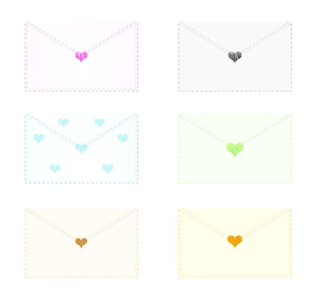 Decorative envelopes sealed with stylized hearts. Stock Vector - 15202162
