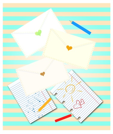 Decorative background with envelopes and heart stamps. Dotted and striped backdrop. Stock Vector - 15202164