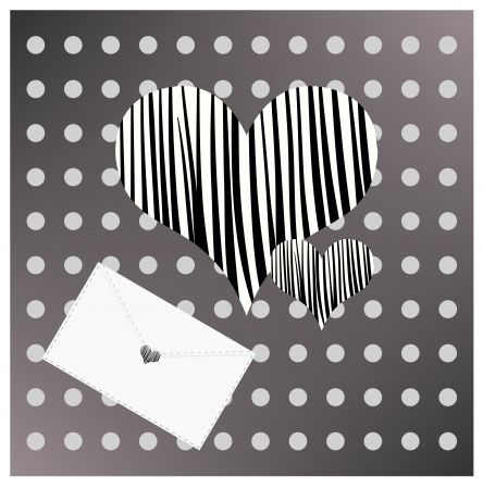Decorative black and white background with envelope and heart. Dotted and striped backdrop
