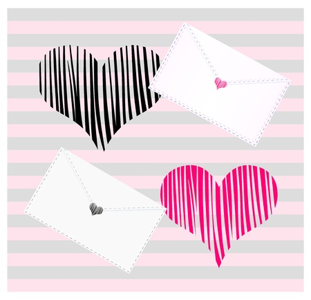 Decorative background with envelope and heart stamp. Striped backdrop in pastel pink and grey colors.