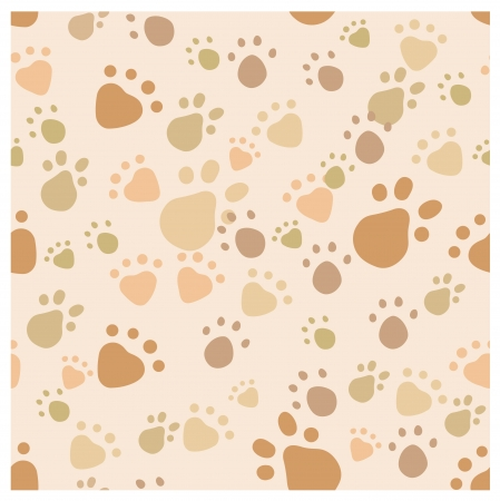 seamless pattern with pet legs' imprint in monochrome beige and brown colors Vector