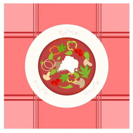 borscht: colorful vector illustration of mushroom and vegetable borsch soup in decorated plate.