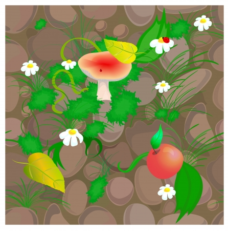 Seamless pattern eps 10 vector  Colorful design with stones, flowers, mushroom, leaves and grass Stock Vector - 15518759