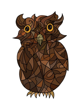 fragmentary: Decorative stylized fragmentary owl in brown tints