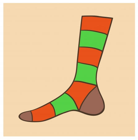 Eps 10 vector sock illustration in subdued warm vintage tints