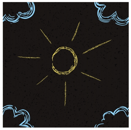 easygoing: Drawing on asphalt seamless pattern  Sun and clouds  Eps 10 vector Illustration