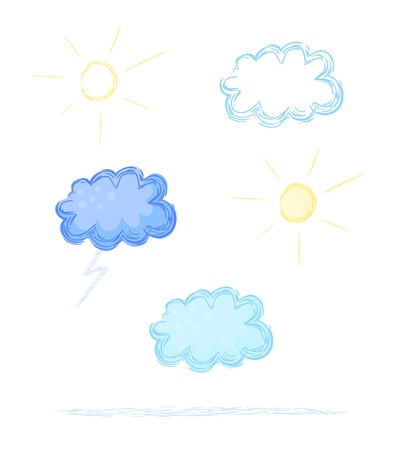 cretive: Eps 10 vector weather sketch illustrations  Clouds, lightning, sun, storm cloud  Contains stroke sample  lowest element