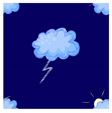 inclement weather: colorful seamless pattern with storm clouds and lightning Illustration