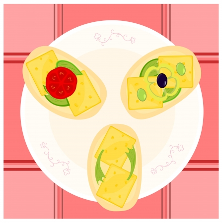 open sandwich: Cheese sandwiches with olive, tomato and pepper on patterned plate  Tartan tablecloth