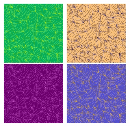 Set of artistic wavy hand drawn seamless patterns for your design Stock Vector - 16707535