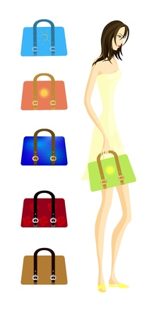 Handbags set. Five fashionable bags and a model girl.Contains Clipping Mask