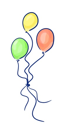 easygoing: Colorful balloons sketch. Illustration
