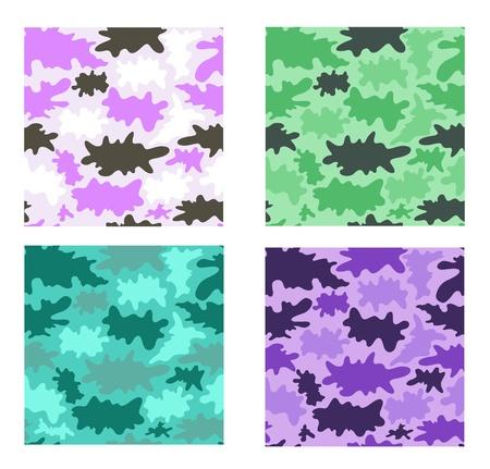 camouflage seamless pattern set  Four design variants