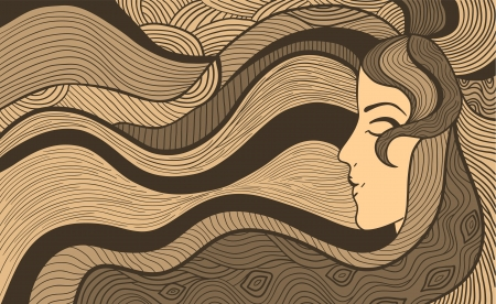 longhaired: Hand drawn abstract illustration of beautiful long-haired woman Illustration