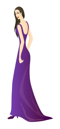 Beautiful girl in violet long dress Vector