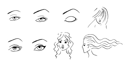 gravure: sketch set of hand drawn eyes and woman faces