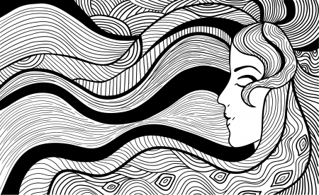 black and white line drawing: Hand drawn abstract illustration of beautiful long-haired woman  Black and white outline Illustration