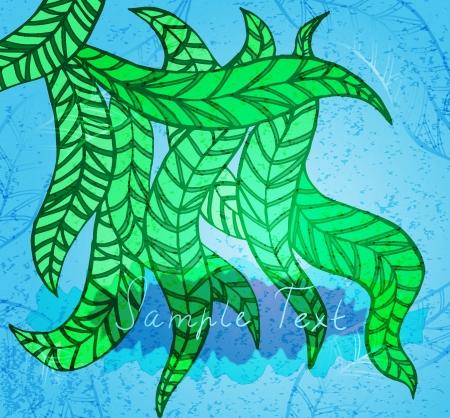 florish: Decorative stylized background with fancy green leaves Illustration