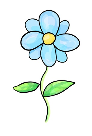 picturesque: Decorative stylized blue flower sketch