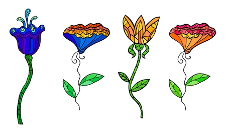 colorful decorative contrast flowers set  Fancy stylization  Vector