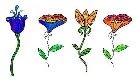 colorful decorative contrast flowers set  Fancy stylization Stock Vector - 16710468