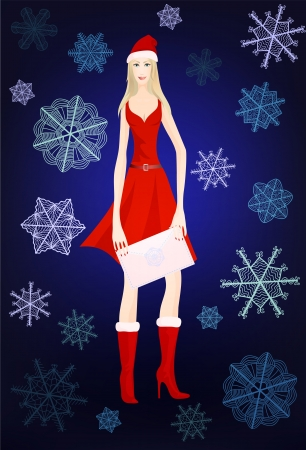 Attractive smiling snow maiden in red dress, fur boots and holiday New Year cap with decorative envelope in her hands on dark blue background with stylized artistic snowflakes  illustration for your Christmas design Stock Vector - 16710526