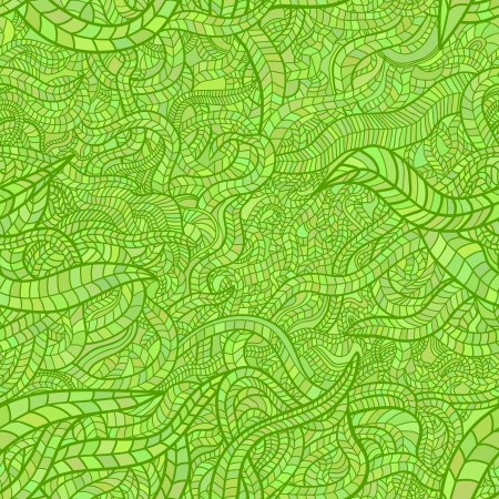 Beautiful hand drawn mosaic floral seamless pattern  Colorful light green variant