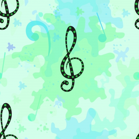 Beautiful musical seamless pattern with decorative treble clef Vector
