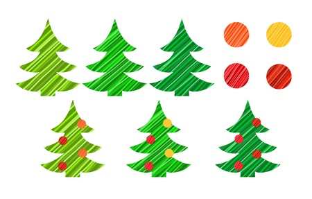 set of colorful stylized Christmas and New Year trees and decorations  Stock Vector - 16707599