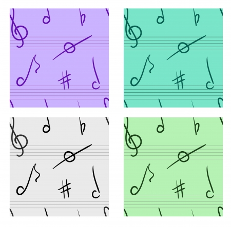 music theory: music seamless pattern set Four different variants Illustration