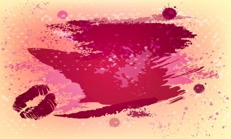 claret red: Fondo hermoso con manchas, trazos de pintura e impresi�n beso con un lugar para su texto