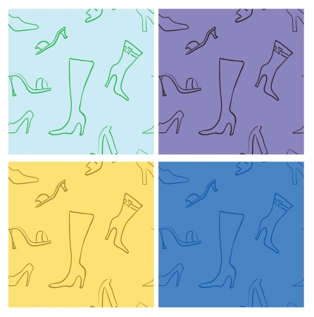 Shoes seamless pattern set fashionable Stock Vector - 16707536